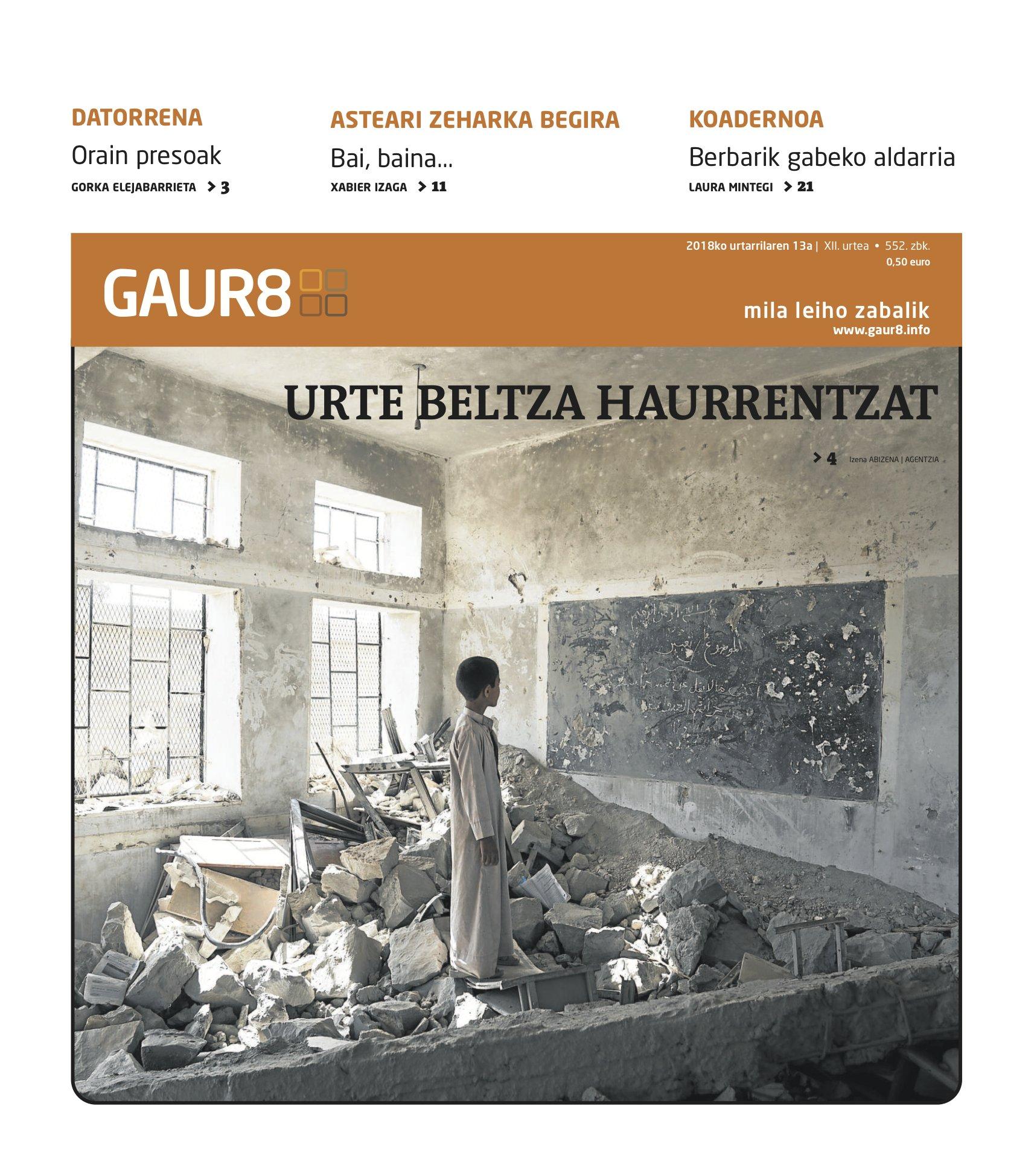 Gaur8-ren aurrerapena   Herrialde ezberdinetan dauden gatazketan haurrek bizi duten egoera, gurearbasoak.eus webgunea eta Proiektors proiektua