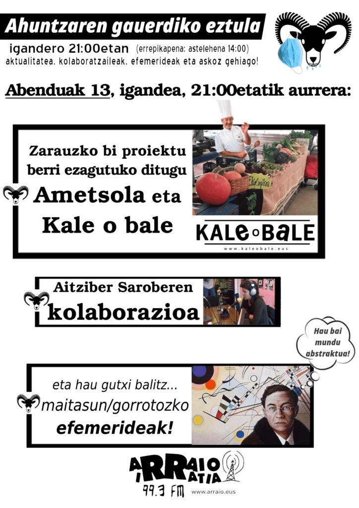 Ametsola, Kale o bale eta Aitziberren kolaborazioa igande honetan