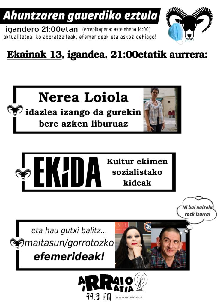 Ekida, sozialisten kultur ekimenaz eta Nerea Loiola idazlea, 'Epizentroa' narrazio bildumaz