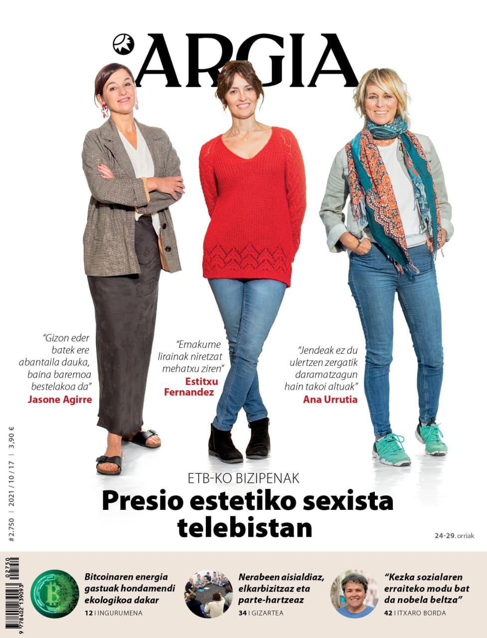 ARGIA AURRERAPENA (21/10/13) | Presio estetiko sexista telebistan, Iñigo Urrutiari elkarrizketa eta Ainhoa Etxaideren zutabea